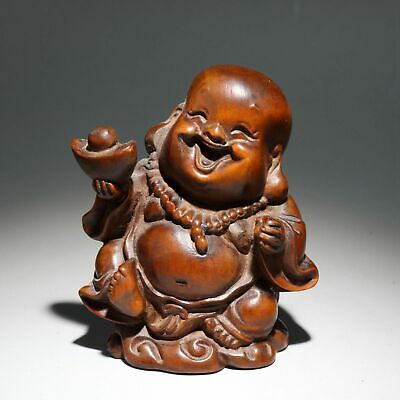 Collectable Old Boxwood Carve Happy Buddha Handheld Wealth Luck Buddhism Statue