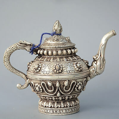 Collectable China Old Miao Silver Hand-Carved Myth Dragon & Flower Noble Tea Pot