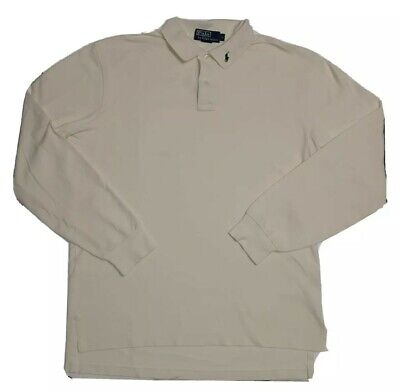 Polo by Ralph Lauren Mens's Shirt Size Large Cream Color Cotton Long Sleeves
