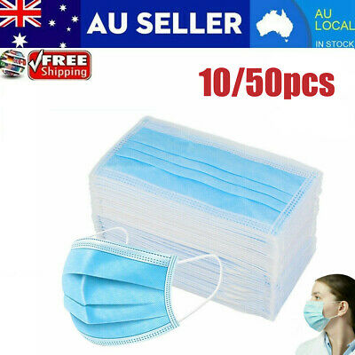 10/50/100 X Disposable 3-Ply Face Mask Anti Dust Respirator Protective Filter UE