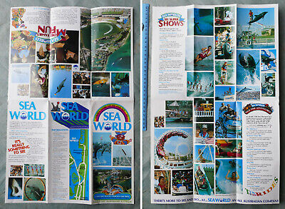 1980's Vintage SEA WORLD Brochure Gold Coast QLD history theme park dolphins