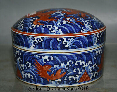 "6.6"" Old China Xuande Dynasty Blue White red Porcelain Dragon Beast Storage Box"