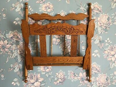 Vintage Antique Wooden Magazine Newspaper Rack Carved Wall Hanging Rack.