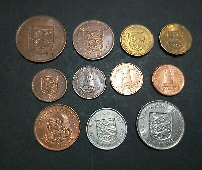 Lot of 11 different coins from Jersey