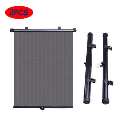2PCS Car Window Black Retractable Roller Block Blinds Shades for Side Sun Visor