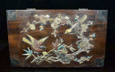 """12.4"""" Antique China Huanghuali Wood Inlay Shell Dynasty Bamboo Birds Jewelry box"""