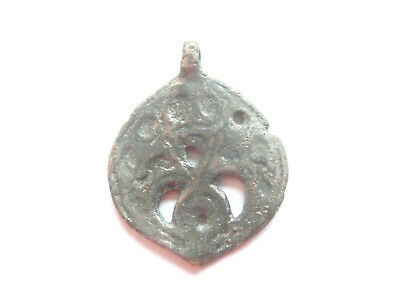 GREAT SAVE > Viking Era Openwork Billon *LUNAR* AMULET / PENDANT - WEARABLE!