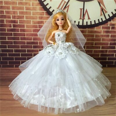 Fashion Wedding Dress for Barbie Doll Clothes Princess Evening Party Gown