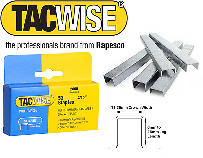 TACWISE 1X 2000  SERIES 53 STAPLES  4mm - 14mm  Heavy Duty Galvanised RAPESCO