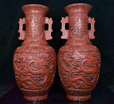 "17.6"" QIanlong Marked Old China Red Lacquerware Dynasty Dragon Bottle Vase Pair"