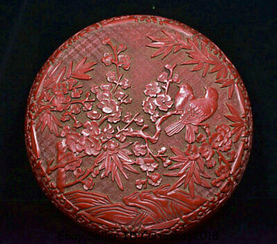 "8.8"" Qianlong Marked China Qing red lacquerware Palace Flower Birds Jewelry box"