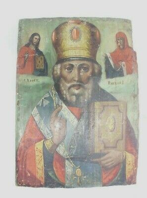Antique 19c Russian Orthodox Hand Painted Wood Icon St. Nicholas Wonderworker