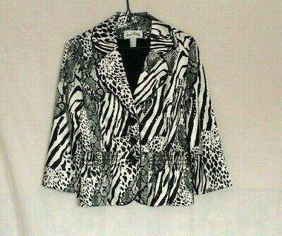 Joseph Ribkoff Womens Animal Print Sequined Jacket Sz 8 Black White Button Lined