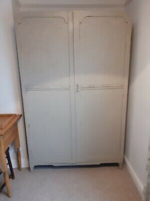 Wooden retro Vintage Painted Double Wardrobe. With Large Mirror And Shelf Inside