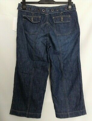 New Liz Claiborne Michaela Womens Sz 10 Jeans Capris Blue Belted Button Fly -E10
