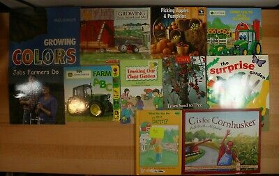 BOOKS ABOUT FARMING AND GARDENING For Children! PB, HC and Board Books Lot of 11