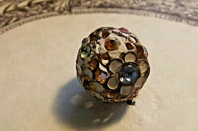 BEAUTIFUL Unusual Pierced, Filigree, Jeweled, Painted Ball Flower Button (1150)