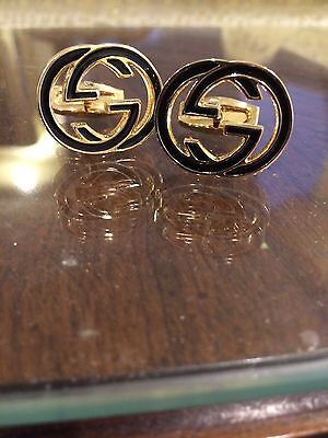 MENS Gucci Cufflinks GG Logo Interlocking G New Gold plated Msrp $380 Dustbag