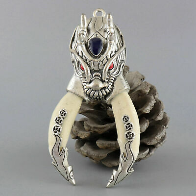 Collect China Tibet Silver Inlay Wolf Tooth Carve Myth Dragon Auspicious Pendant