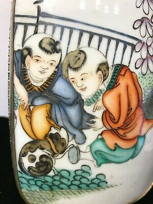 """Antique Chinese Porcelain Shard in silver metal Box Large 8 """" long handpainted"""