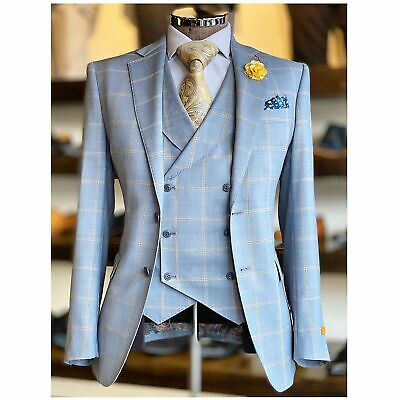 Windowpane Vested Suit
