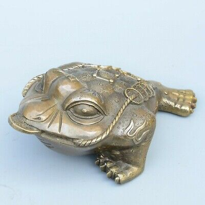 Collectable China Old Bronze Hand-Carved Toad & Wealth Moral Auspicious Statue