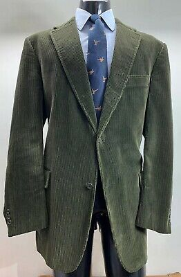 J Press Corduroy Green Sport Coat Jacket Men's 48 L Made In USA