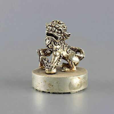 Collect China Old Miao Silver Hand-Carved Roar Lion Moral Auspicious Seal Statue