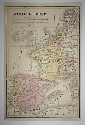 Antique 1873 Map of Western Europe