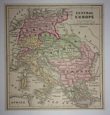 Antique 1873 Map of Central Europe