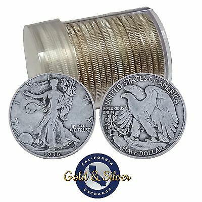 90% Silver Walking Liberty Half Dollars Roll of 20 - $10 Face Value (Circulated)
