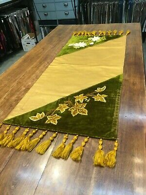 Antique silk and silk velvet table runner with silk chenille embroidery, 1905