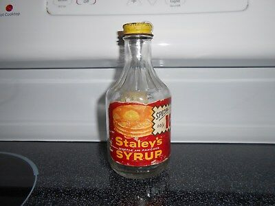 Vintage Waffle and Pancake syrup glass bottle STALEY'S