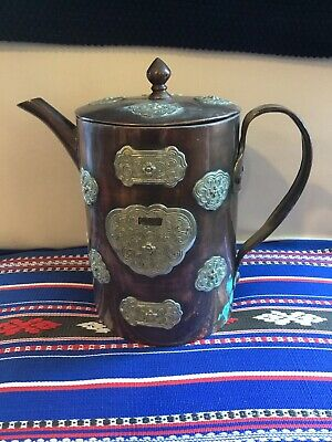 ANTIQUE Art Nouveau Deco Craftsman Style Teapot Copper Silver Ornate Overlay