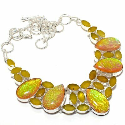 Triplet Fire Opal, Yellow Onyx 925 Sterling Silver Necklace 18""