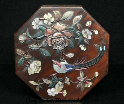 """6"""" Old China Huanghuali Wood Inlay Shell Dynasty Palace Flower Birds Jewelry box"""