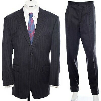 40R Calvin Klein Gray Black Pinstriped Soft Wool Two-Piece Suit 33x30 Trousers M