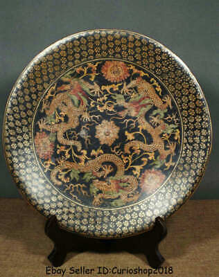 """13.2"""" Old Chinese Wood Lacquerware Painting Dynasty Dragon Plate Tray Screen"""