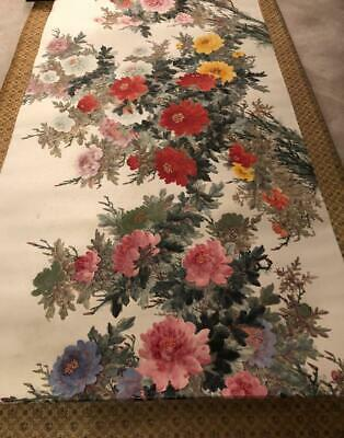 """Chinese Scroll Painting Of Beautiful Peony Flowers With Stamp Extra Long 139"""""""