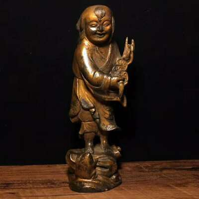 "8.3"" Collect Tibetan Buddhism Pure Bronze Fringe Play Golden Toad Spittor Statue"