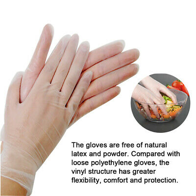 100 Disposable Powder Free Latex Free Clear Vinyl Nitrile Food Medical Gloves
