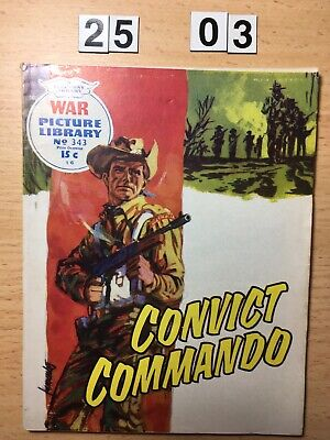 """Fleetway War Picture Library Comic # 343 from 1966. """"Convict Commando"""" Aussies!"""