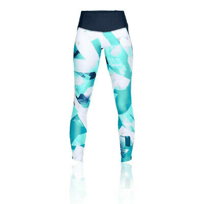Under Armour Womens Fly Fast Printed Running Tights Bottoms Pants Trousers Blue