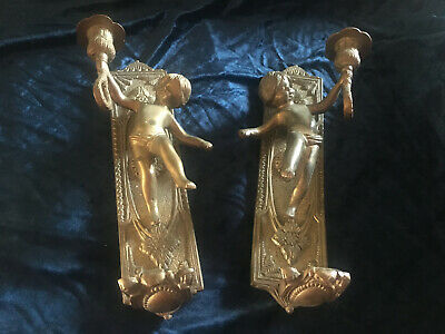 Beautiful Pair Of Ornate French Vintage Cherub Wall Sconces Solid Brass