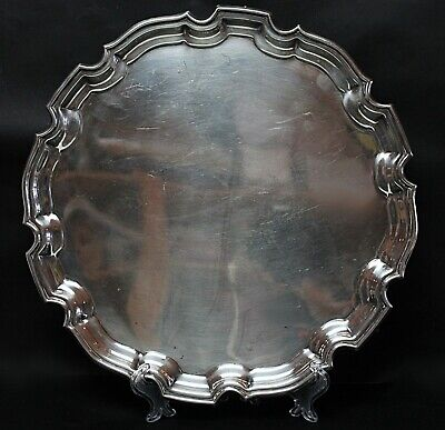 Chippendale Style  Vintage EPNS Made in England 8473 Silver Plated Round Tray