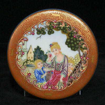 """4.6"""" Qianlong Marked Old China colour enamels Porcelain Western Beauty seal box"""