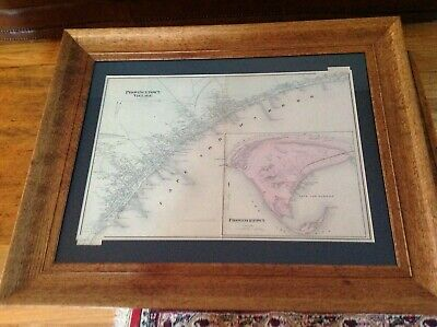 Original 1871 FRAMED map of Provincetown by Walling/Gray in good condition