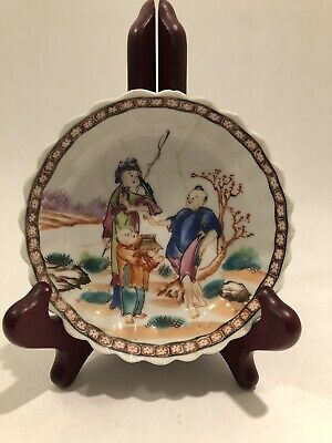 "Antique Chinese Export 4.75"" Dish - Hand Enameled And Repaired"