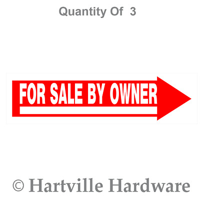 The Hillman Group 844383 For Sale By Owner Sign, 6-Inch by 24-Inch (3-PACK)