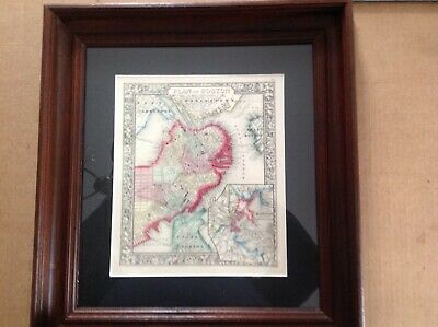 Original framed 1864 map of Boston by Mitchell in good condition